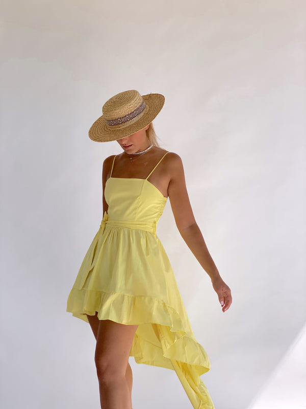 ASYMMETRIC DRESS WITH TIE WAIST IN YELLOW
