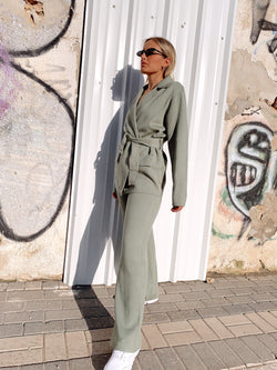 KNITTED SET WITH BELT DETAIL IN MINT - Set - Shop Fashion at LE TRÉ
