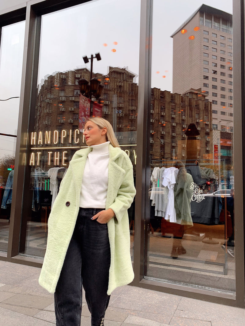 LONG FLUFFY COAT IN PASTEL MINT - Coats & Jackets - Shop Fashion at LE TRÉ