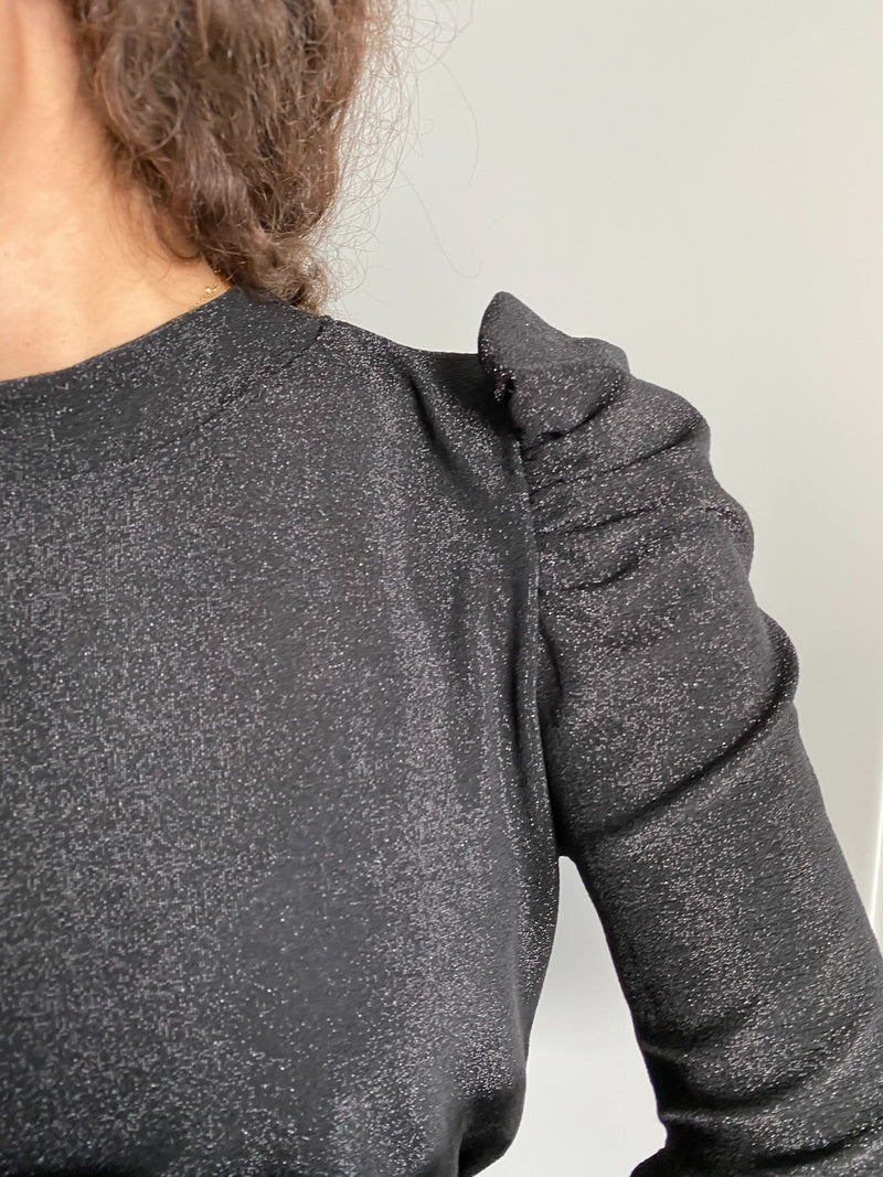 LONG PUFF SLEEVE TOP IN BLACK GLITTER - Top - Shop Fashion at LE TRÉ