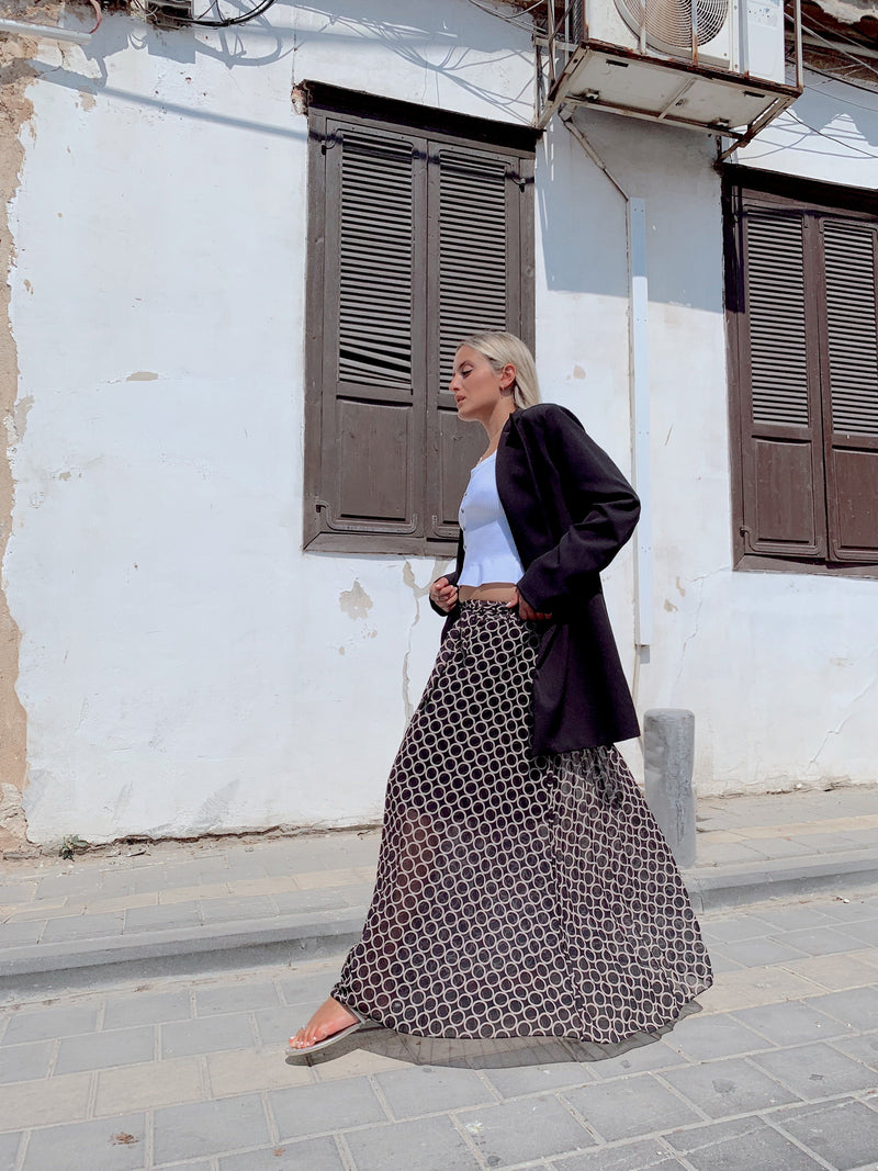MAXI SKIRT IN CIRCLE PRINT AND TIE BELT Skirt LE TRÉ