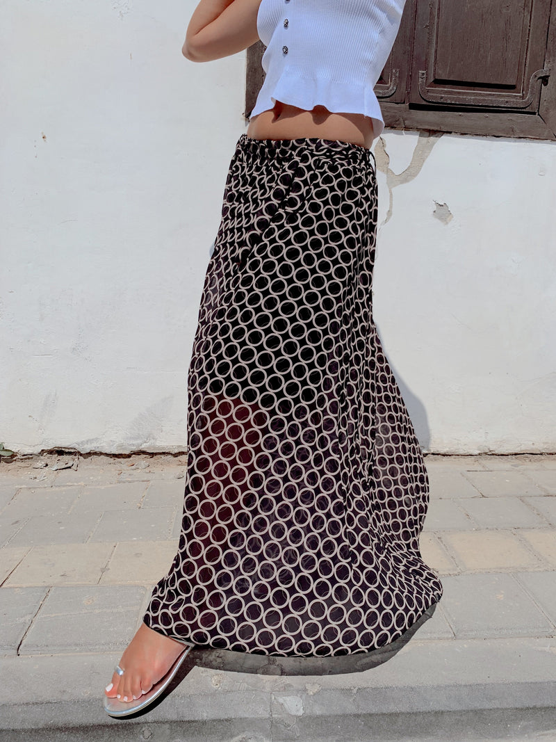 MAXI SKIRT IN CIRCLE PRINT AND TIE BELT - LE TRE