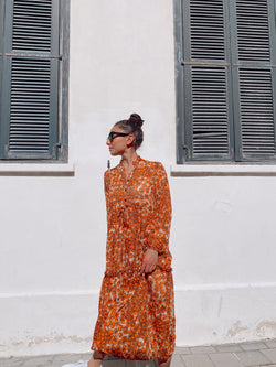MAXI SMOCK DRESS IN LEOPARD PRINT Dress LE TRÉ