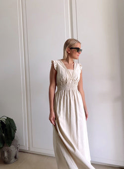 MAXI SUNDRESS WITH FRILL SLEEVE AND SHIRRING WAIST - Dress - Shop Fashion at LE TRÉ