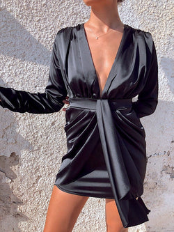 MINI DRESS WITH DEEP PLUNGE AND TIE BACK - Dress - Shop Fashion at LE TRÉ