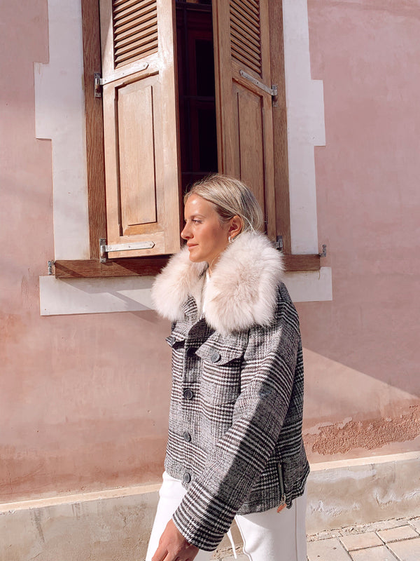 OVERSIZED CHECKED COAT WITH FAUX FUR DETAIL - Coats & Jackets - Shop Fashion at LE TRÉ