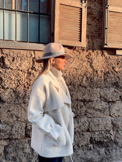 OVERSIZED FLUFFY COAT WITH TIE BELT DETAIL Coats & Jackets LE TRÉ