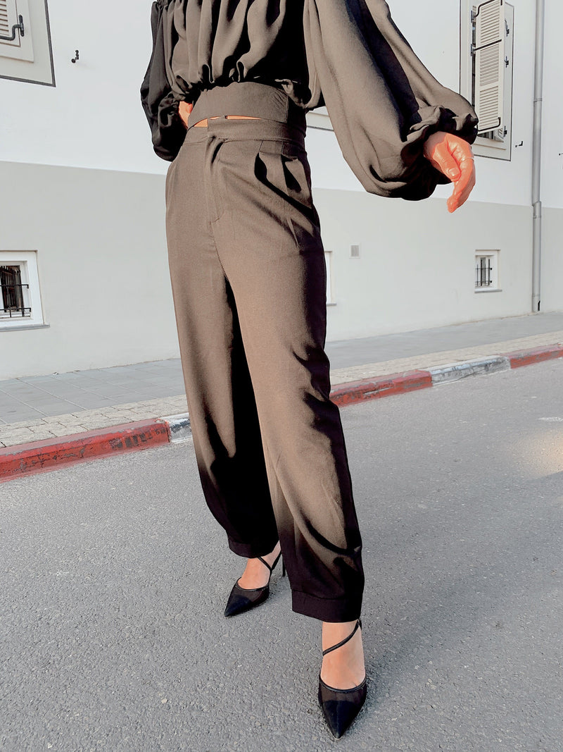 OVERSIZED TAILORED TROUSERS IN BLACK - LE TRE