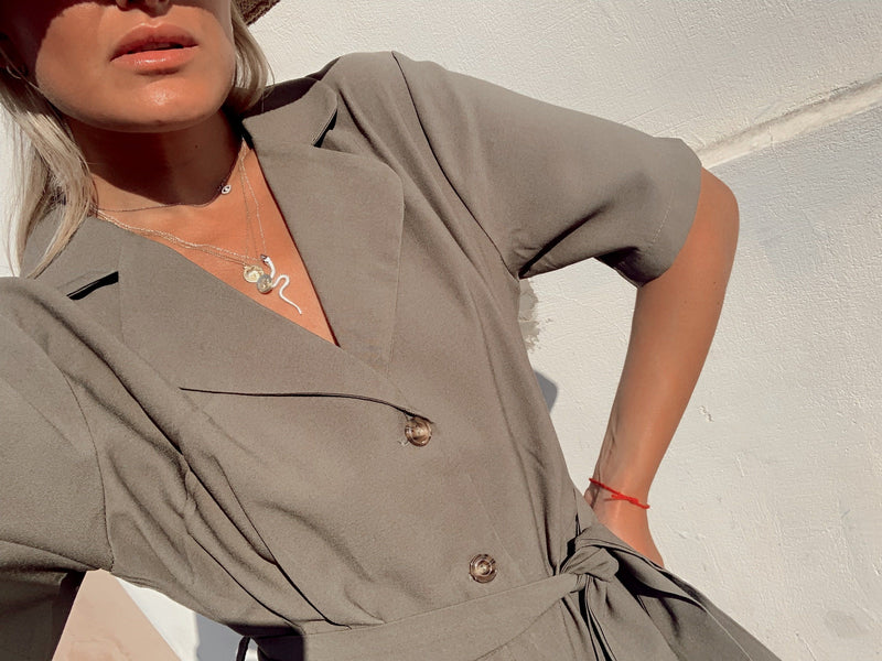 PLAYSUIT BUTTON FRONT WITH TIE WAIST - Jumpsuit - Shop Fashion at LE TRÉ