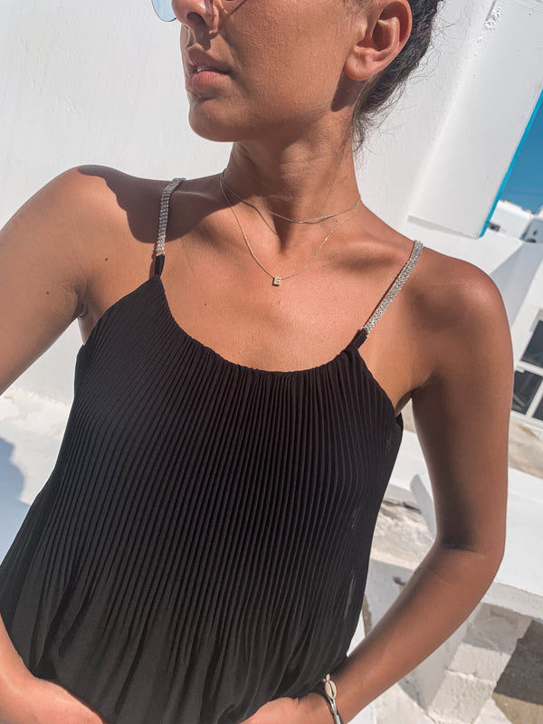 PLEATED CAMI TOP WITH SPARKLE SLEEVES - Top - Shop Fashion at LE TRÉ