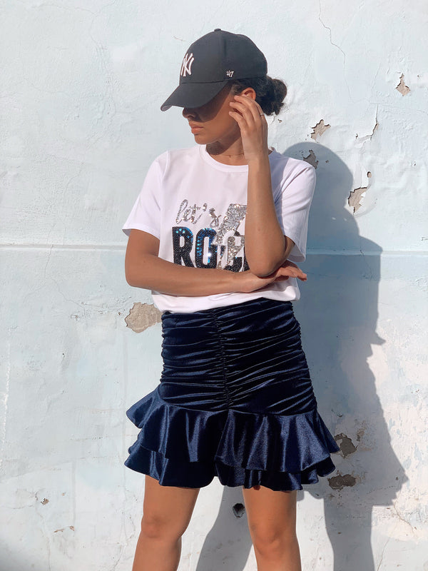 RUCHED SKIRT IN VELVET - Skirt - Shop Fashion at LE TRÉ