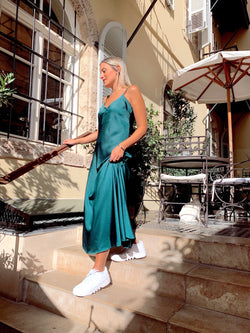 SATIN CAMI MAXI SLIP DRESS IN GREEN - Dress - Shop Fashion at LE TRÉ