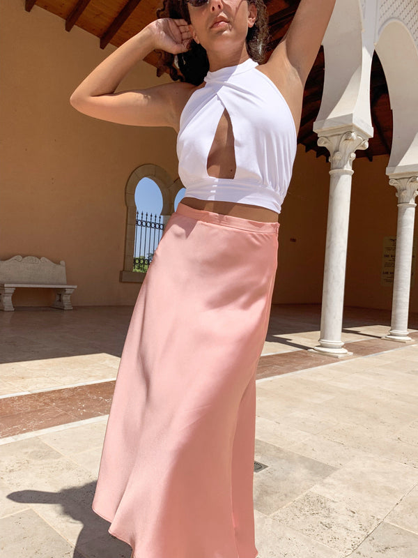 SATIN MIDI SKIRT IN PINK - Skirt - Shop Fashion at LE TRÉ