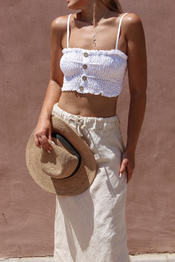 SHIRRED SQUARE NECK CROP TOP WITH BUTTON TROUGH Top LE TRÉ