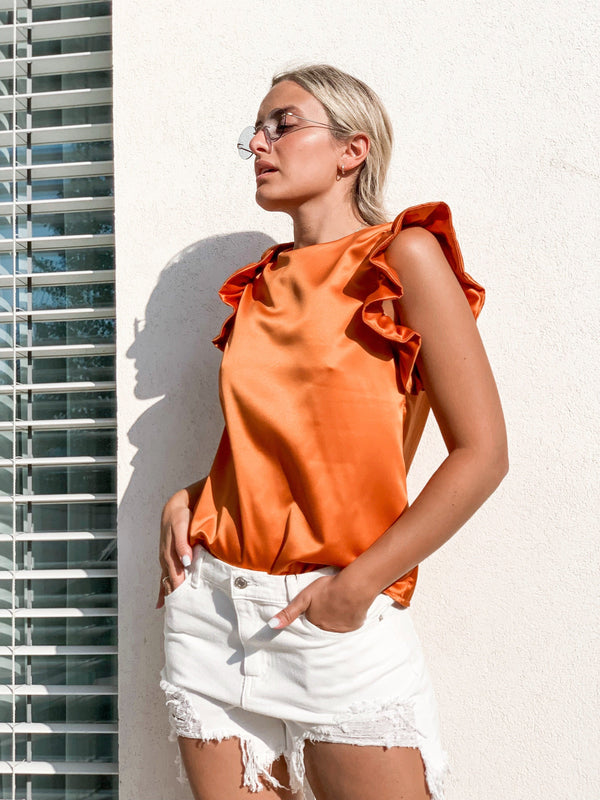SLEEVELESS TOP WITH FRILLS DETAIL IN ORANGE - Top - Shop Fashion at LE TRÉ
