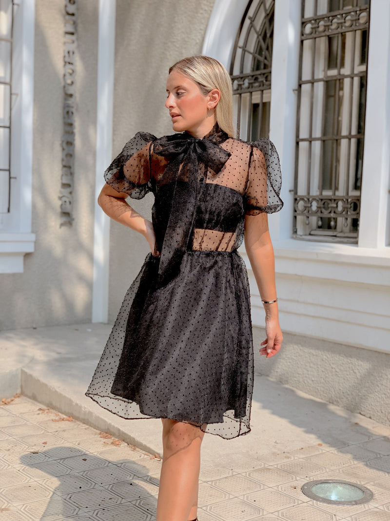 SPOT MESH DRESS WITH TIE NECK - Dress - Shop Fashion at LE TRÉ