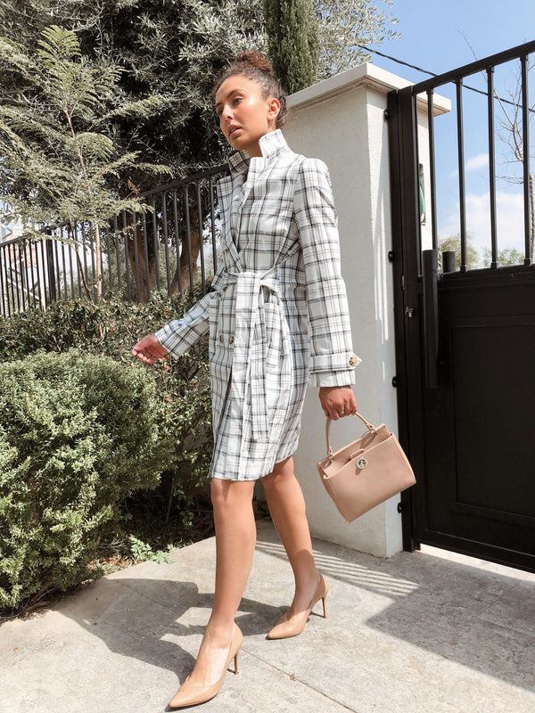 TRENCH COAT IN WHITE CHECK Coats & Jackets LE TRÉ S-M White