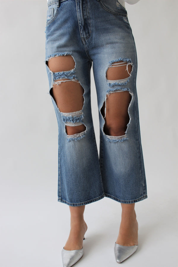 WIDE LEG JEANS WITH RIPS Jeans LE TRÉ