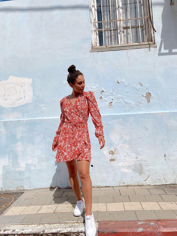 WRAP MINI DRESS IN RED FLORAL PRINT Dress LE TRÉ