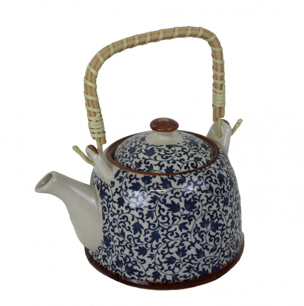 Greenwich Blue and White Vine Teapot
