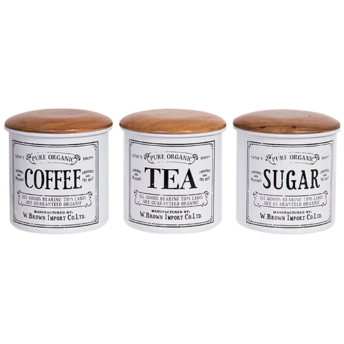 Hand Finished Enamel Coffee, Tea, Sugar Canister Set