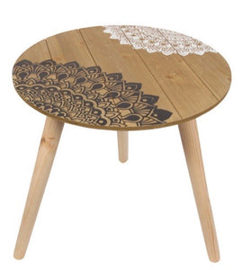 Side Table Black and White Mandala Print