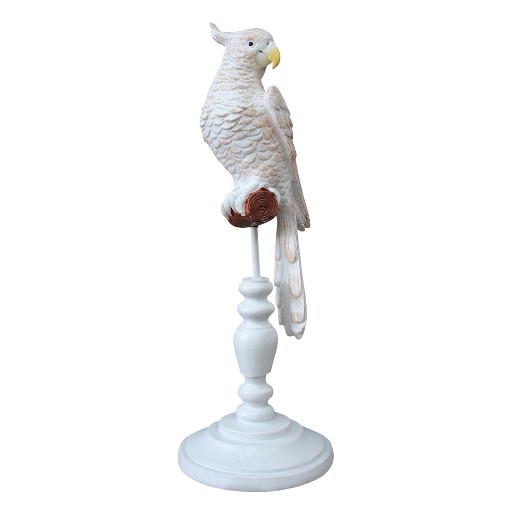 Pepe White and Peach Resin Parrot On Stand