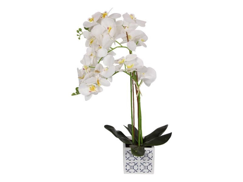 Artificial orchid in blue willow pot