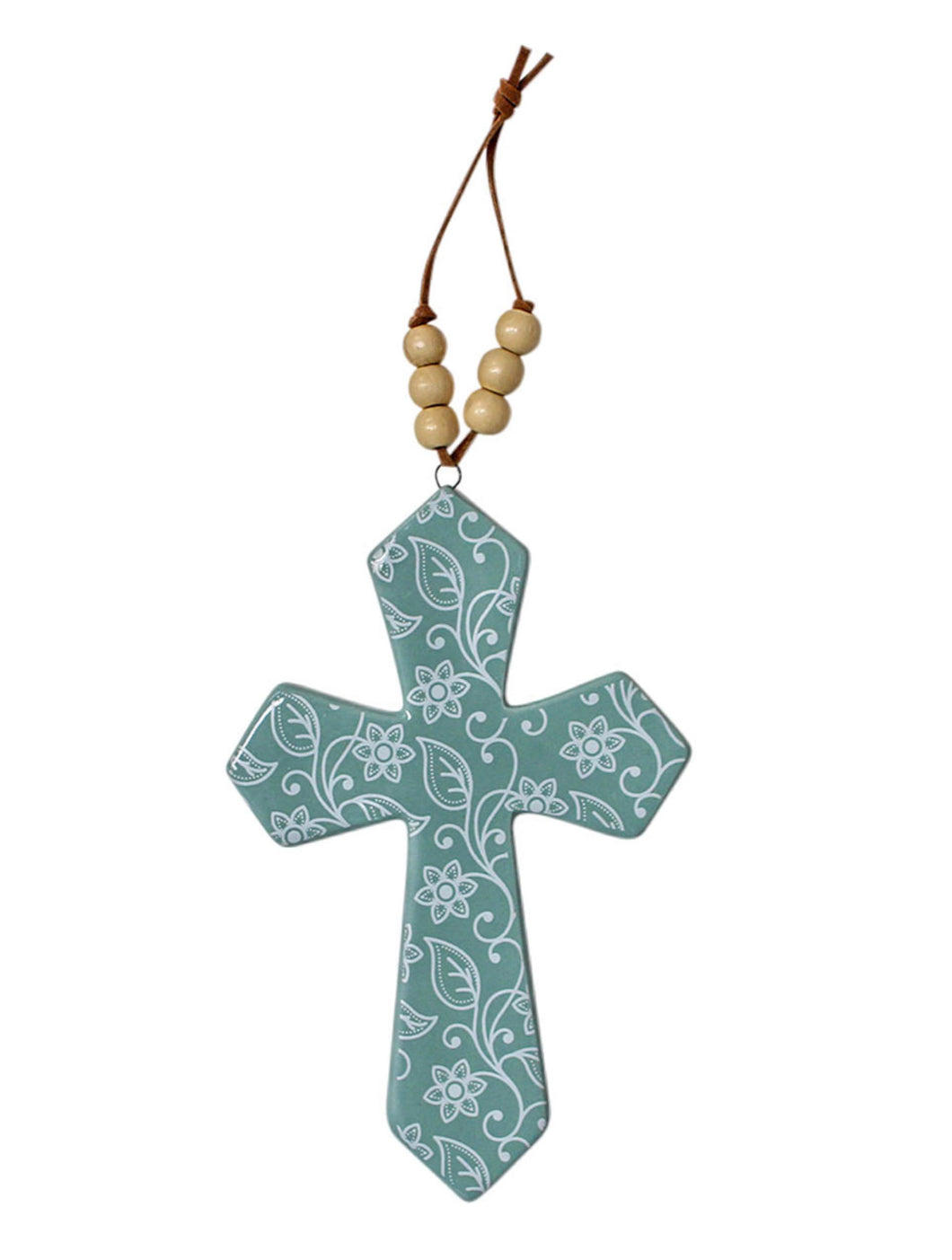 Ceramic Cross with Wooden Beads