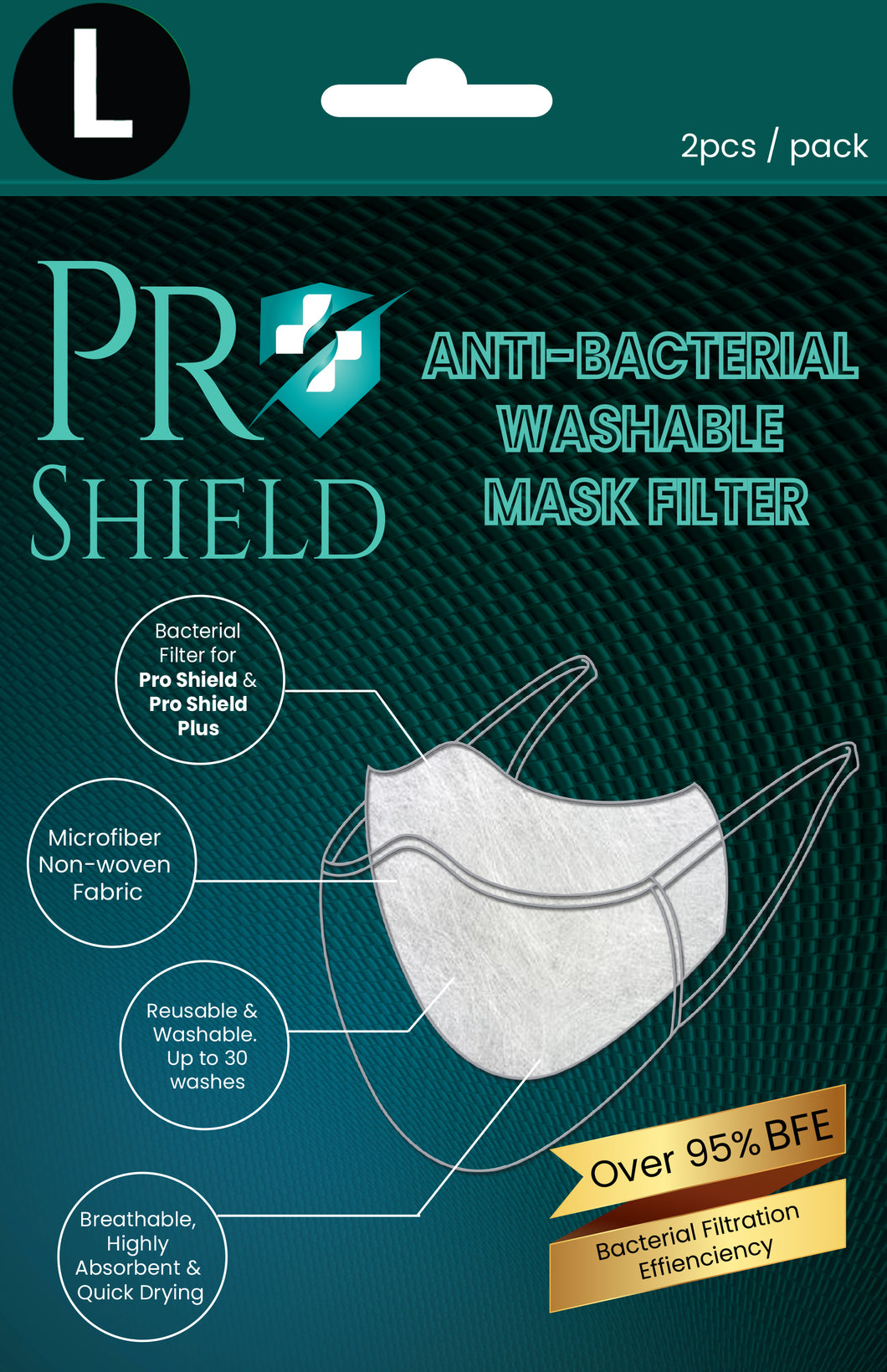 L size | ProShield Antibacterial Reusable Nanofiber Filter (2 sheets/pack)