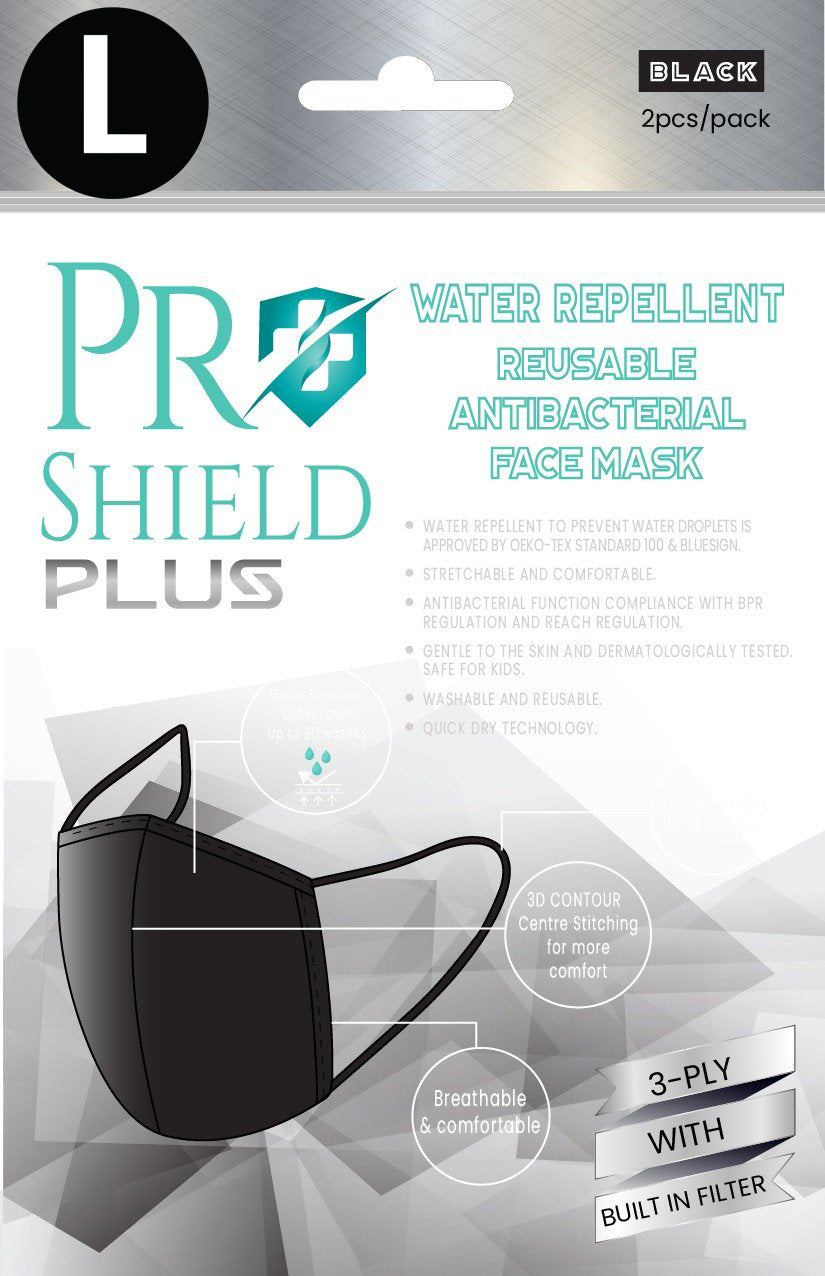 L size | ProShield Plus Water Repellent Reusable Antibacterial Face Mask (2pcs/pack)