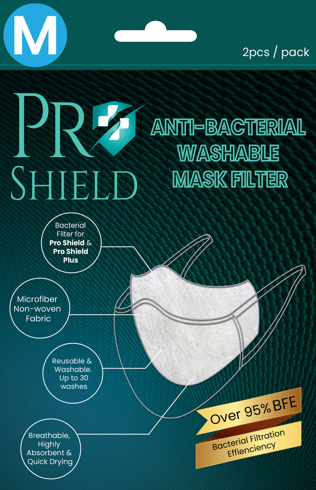 M size | ProShield Antibacterial Reusable Nanofiber Filter (2 sheets/pack)