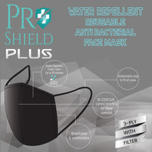 Load image into Gallery viewer, Free size | ProShield Plus Water Repellent Reusable Antibacterial Face Mask (2pcs/pack)