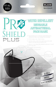 Free size | ProShield Plus Water Repellent Reusable Antibacterial Face Mask (2pcs/pack)