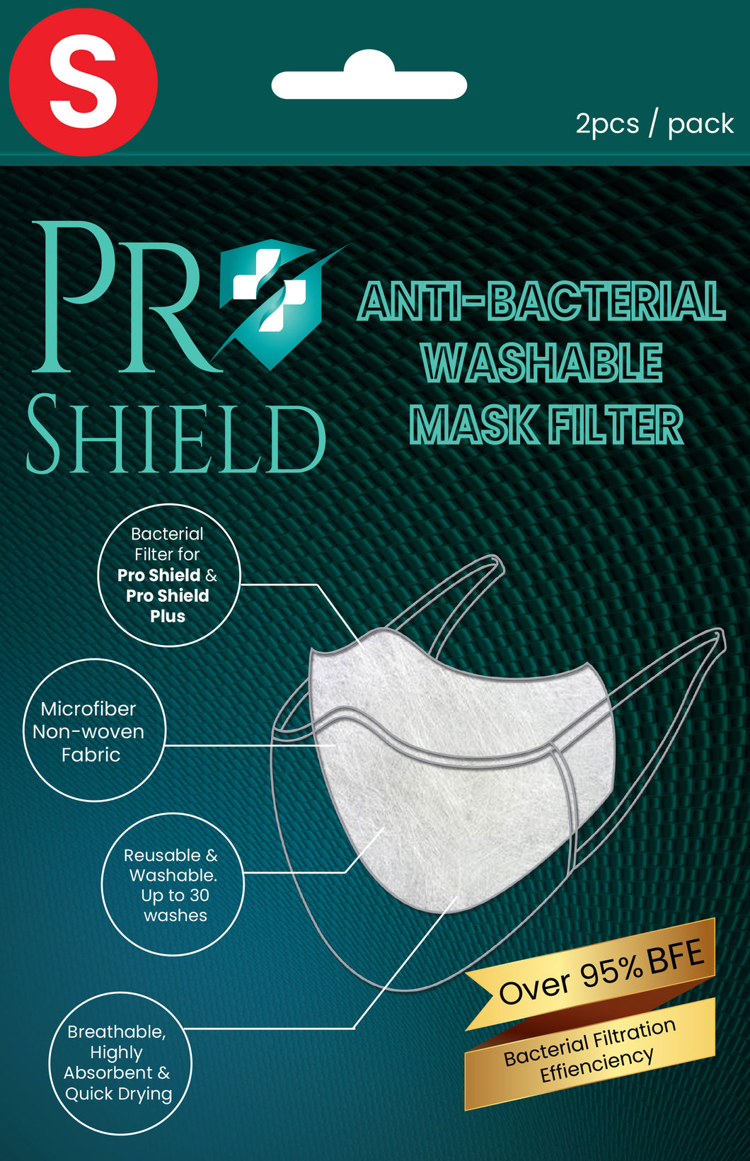 S size | ProShield Antibacterial Reusable Nanofiber Filter (2 sheets/pack)