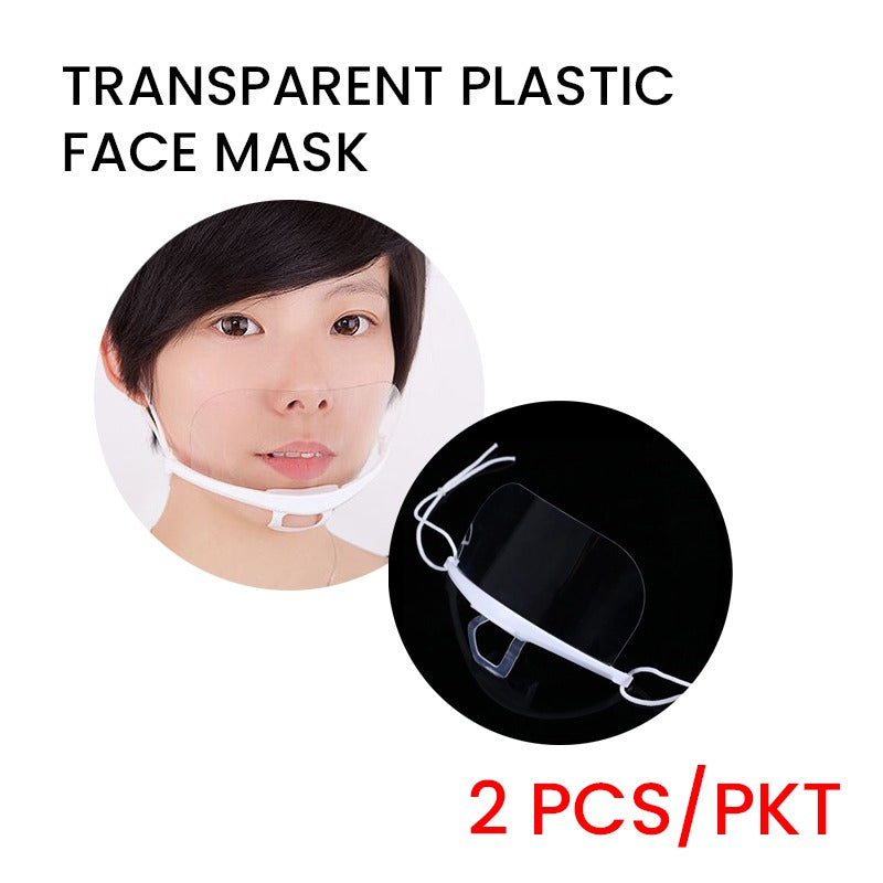 Transparent Plastic Face Mask (2pcs/pack)