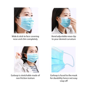 LIYING CE CERTIFIED 3 Layers Surgical Mask - 50 pcs