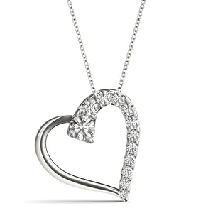 Diamond Tilted Heart Pendant