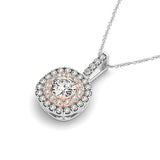2 Tone Halo Diamond Pendant