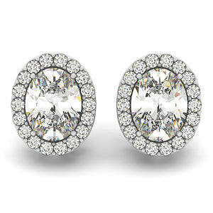 Oval Shape Halo Earrings