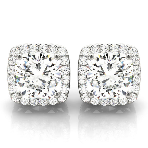Fancy Square Shape Halo Earrings