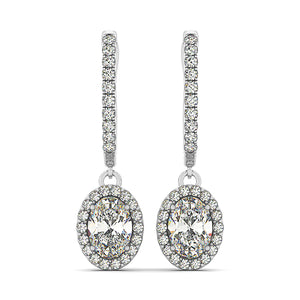 Dangling Oval Shape Halo Earrings