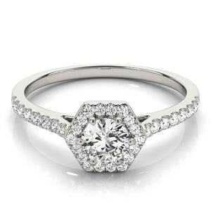 Hexagon Halo Engagement Ring