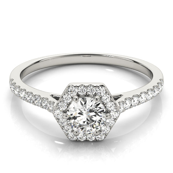 Halo Engagement Ring 14K White Gold Included 0.80 ct Center Diamond I-VS2 GIA Graded