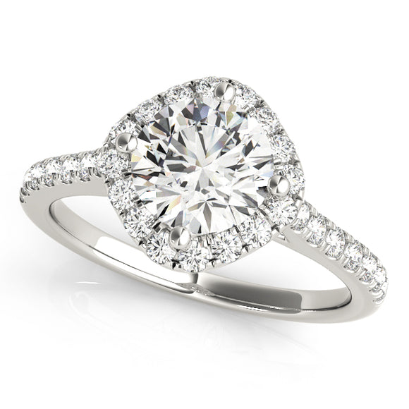 Side Way Cushion Halo Engagement Ring