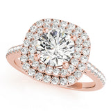 Duet Cushion Halo Engagement Ring