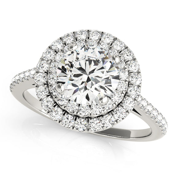 Double Round Halo Engagement Ring