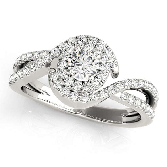 Halo Engagement Ring Curvy Band