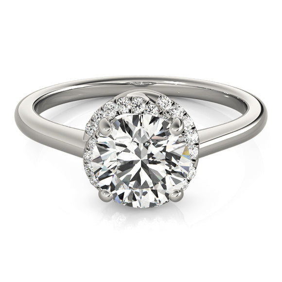 Slim Halo Engagement Ring Plain Band