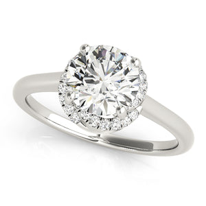 Twisted Basket Halo Engagement Ring Plain Band